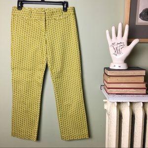J Crew City Fit Stretch Green Dot Pants size 0